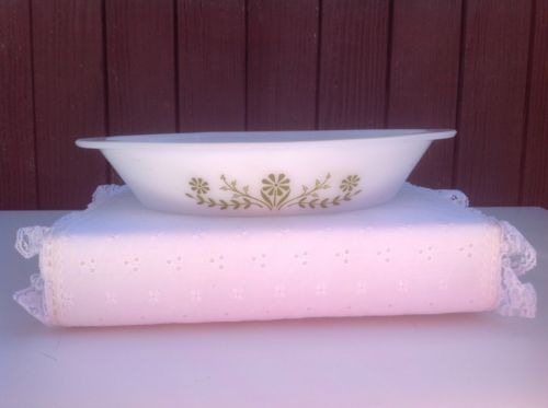 Vintage Lot Two Glasbake Divide Dish Milk Glass DD Green Floral Casserole Dish
