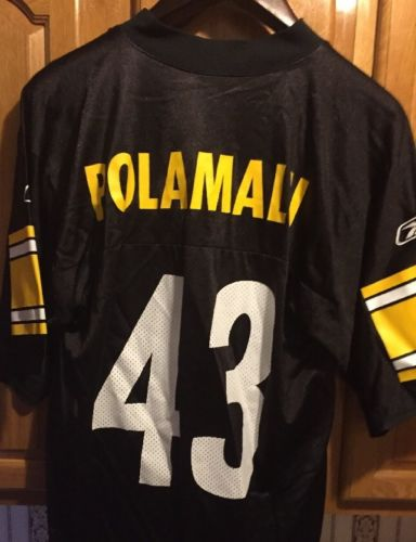 REEBOK NFL EQUIPMENT PITTSBURGH STEELERS TROY POLAMALU JERSEY Youth XL