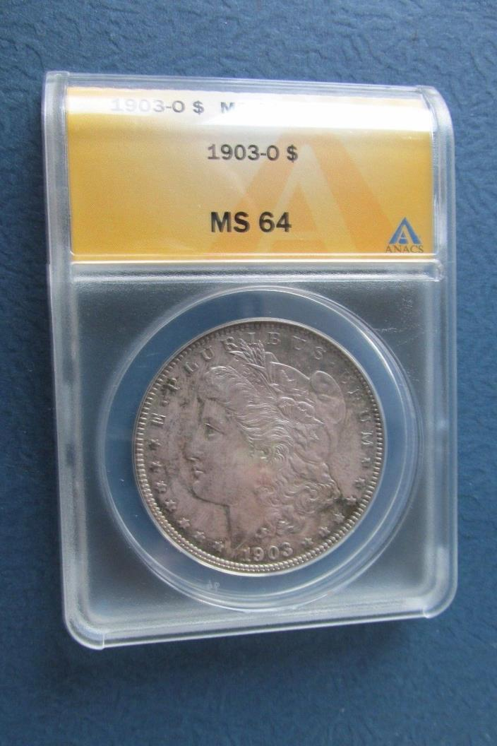 1903 O Morgan Silver Dollar Rainbow toned MS64 ANACS gorgeous