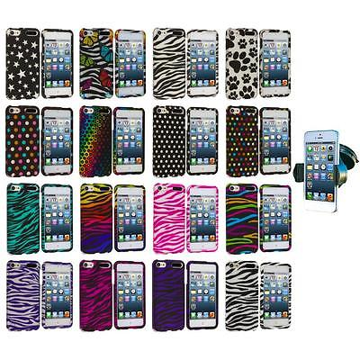 Zebra Polka Dot Hard Design Case+Windshield Mount for iPod Touch 5th Gen 5G