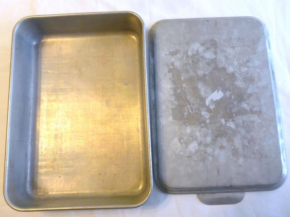 VINTAGE MIRRO ALUMINUM 9 X 13 BAKING CAKE PAN 9 X 13 SNAP-ON COVER