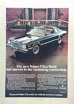 1977  CHRYSLER PLYMOUTH VOLARE ORIGINAL PRINT AD