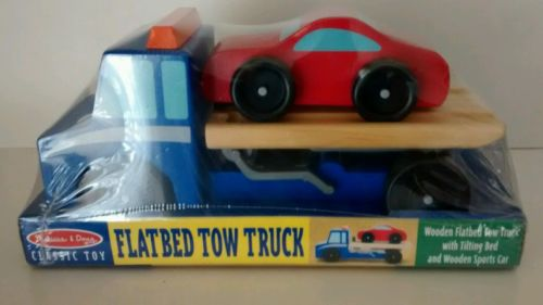 Melissa & Doug Flatbed Tow Truck Wooden Vehicle Set New