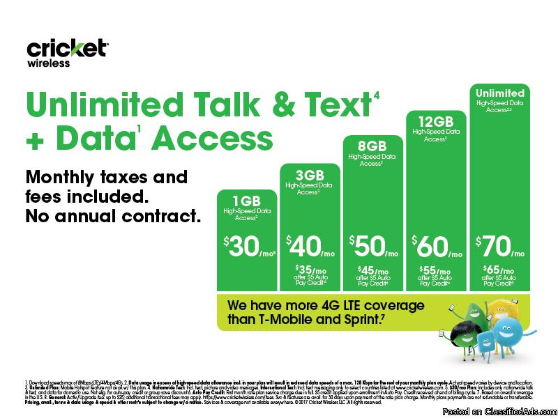 Tired of your phone plan switch to Cricket Wireless today and let us give you...