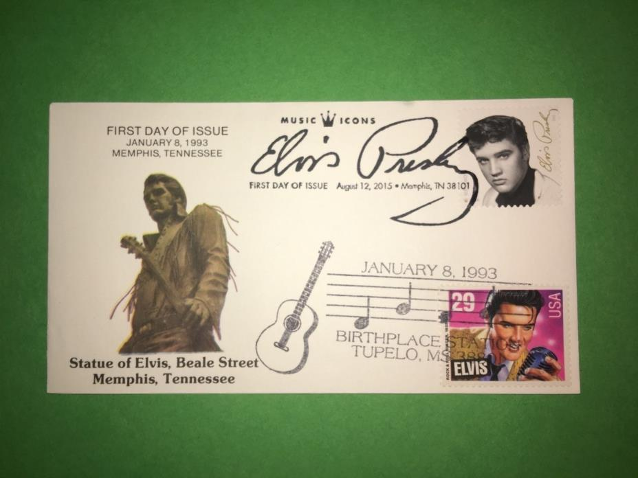1993 & 2015 Elvis Presley FDC Beale St Statue Memphis Collectibles Dual Cancel