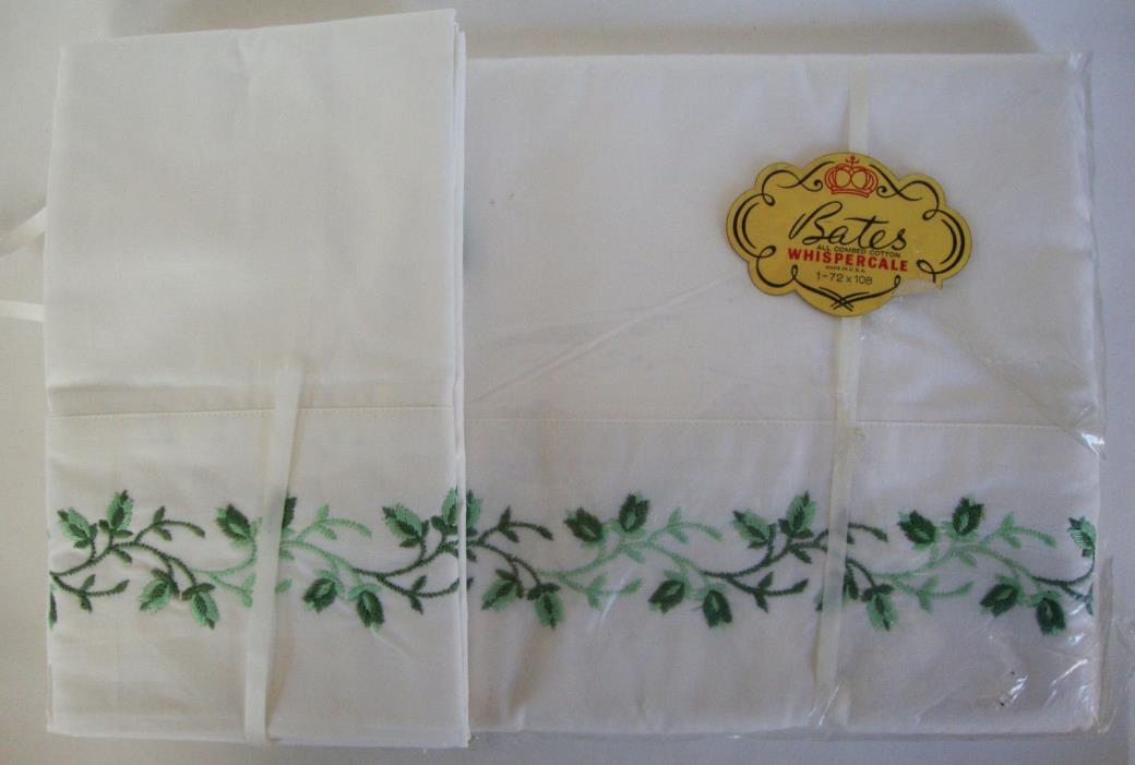 Set Bates Whispercale sheet pillow cases double bed 1962 new  embroidered