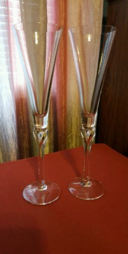 Lenox Crystal Champagne Flutes Heart Stem Pair
