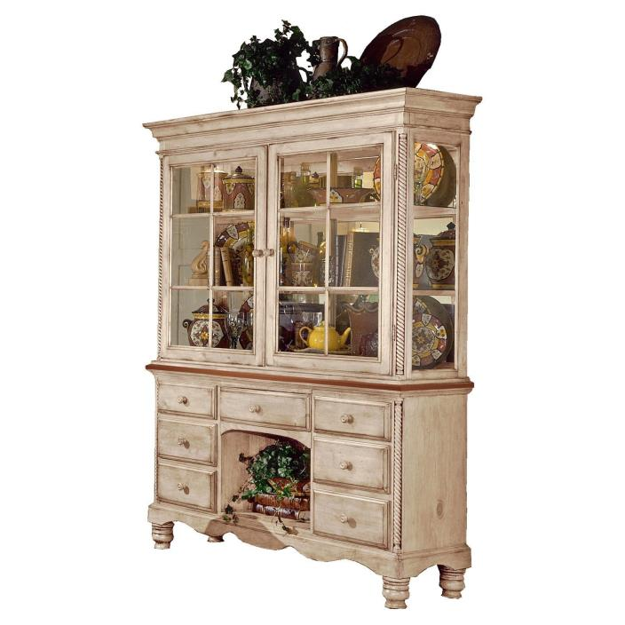 Hillsdale Wilshire Buffet and Hutch in Antique White Finish (Price Reduced)
