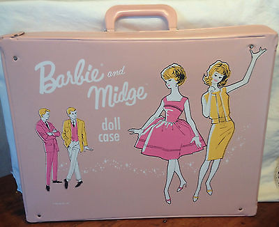 Vintage 1963 Mattel Barbie and Midge Pink Doll Case