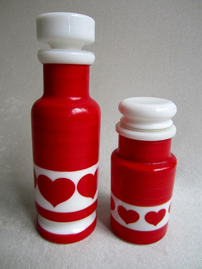 Vtg Set ITALIAN EGIZIA Milk Glass Heart BOTTLES Olive Oil Bottle Cheese Shaker
