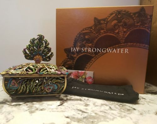 Jay Strongwater Swarovski MacKenzie Peacock Feather Jewelry Trinket Box