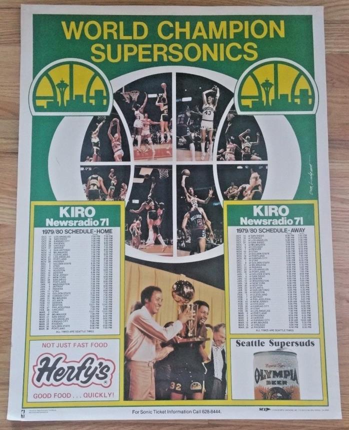 Vtg 1979 1980 SEATTLE SUPERSONICS Sonics Poster World Champion NBA Schedule