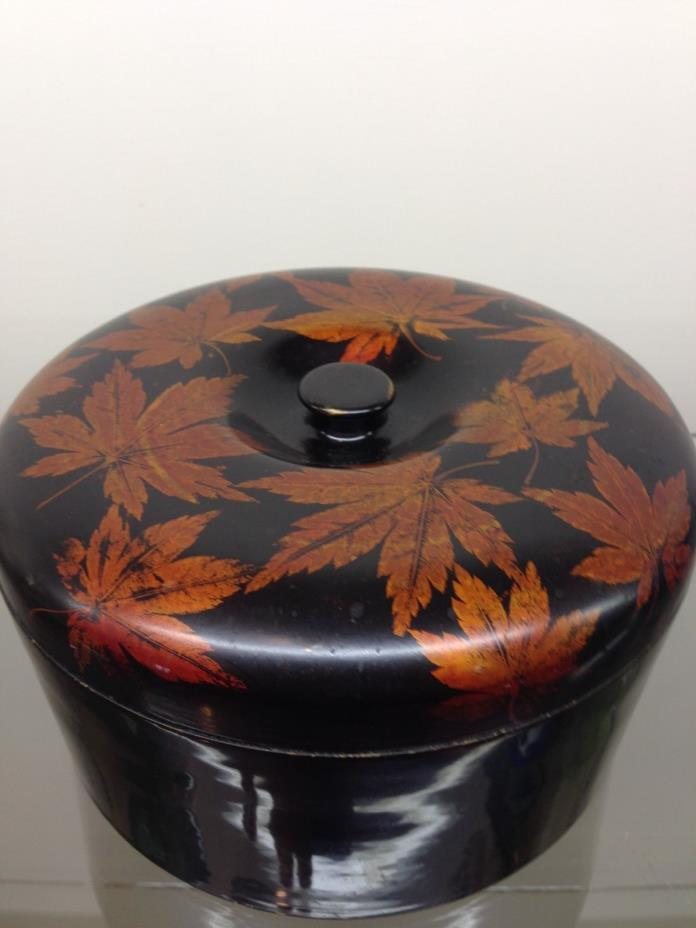 Antique occupied Japan metal base Lacquerware round decorative box