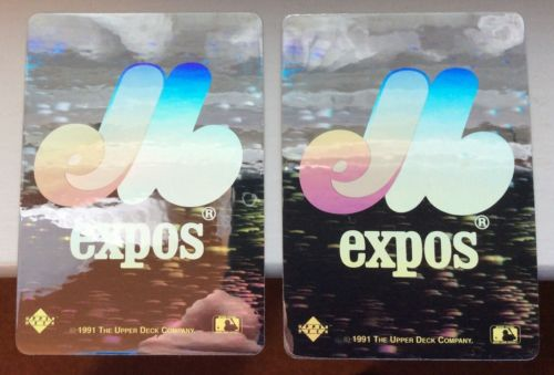 Vintage MONTREAL EXPOS (2) 1991 Upper Deck HOLOGRAM Stickers Heroes Of Baseball