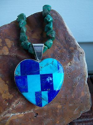 JAY KING DTR 925 TURQUOISE BLUE LAPIS HEART PENDANT GREEN TURQUOISE NECKLACE