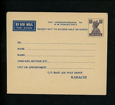 Postal Stationery H&G #IGB1 India military occupation airmail envelope 1946