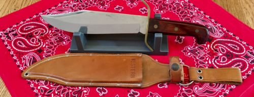 VINTAGE WESTERN U.S.A  W49 H Bowie knife & leather sheath