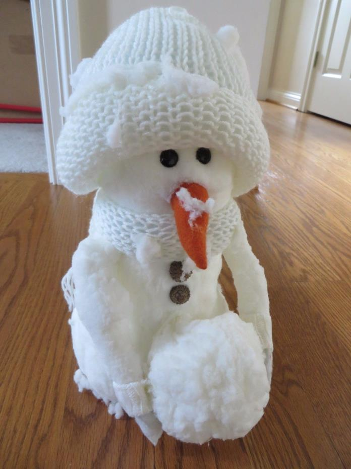 Decorative Snowman with Styrofoam Body Knitted Hat Scarf EUC