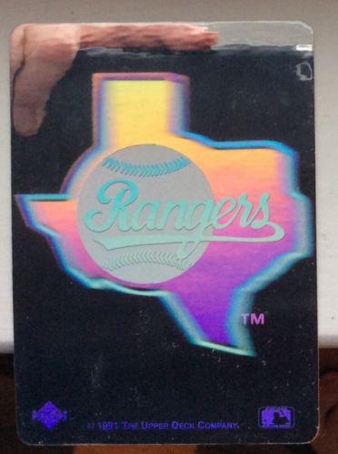 TEXAS RANGERS (1) 1991 Upper Deck Series HOLOGRAM Sticker; MLB Baseball Nm~Mt