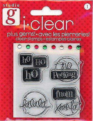 Studio G Christmas Sentiments Plus Gems Clear Stamp Set -VC0035 Series 59