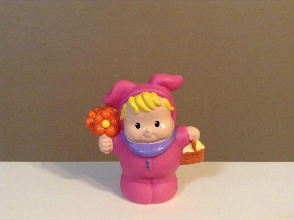 LITTLE PEOPLE KID DRESSED as RABBIT w BASKET BUNNY EASTER SPRING FISHER PRICE
