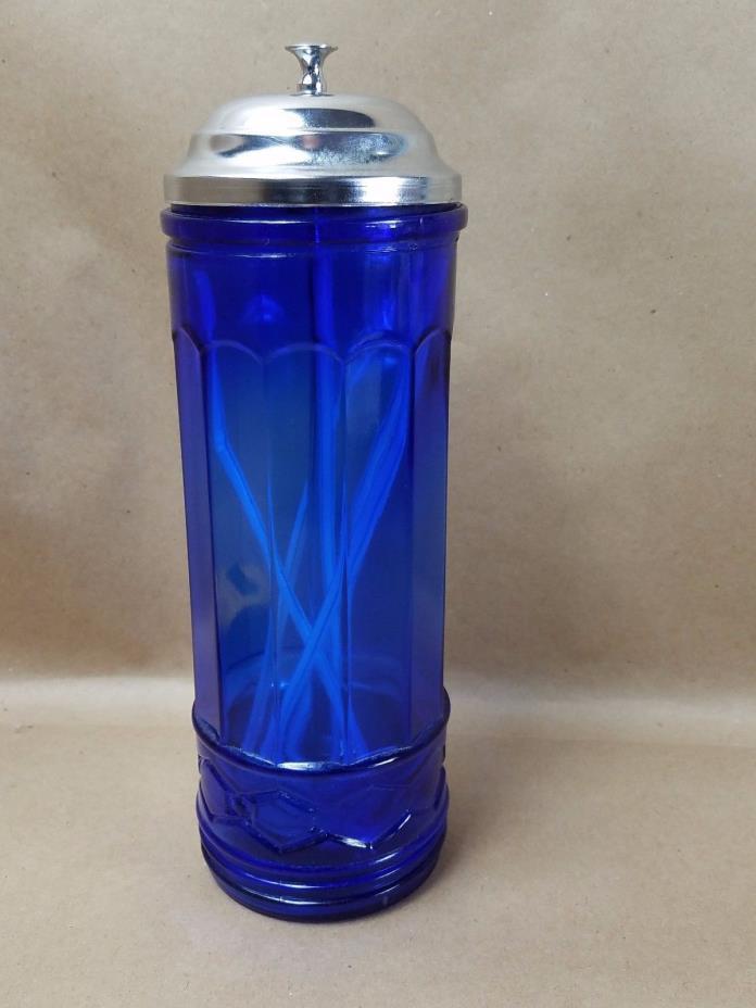 Cobalt Blue Glass Straw Dispenser Holder Diamond Pattern Retro Design