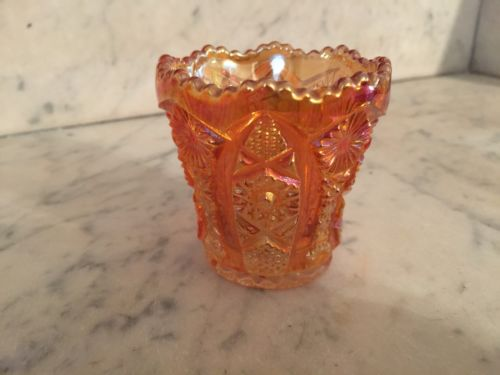Imperial Glass, Marigold Carnival Glass, Toothpick Holder, Hobstar and Arches