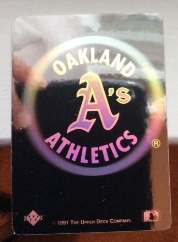 Vintage OAKLAND ATHLETICS (1) 1991 Upper Deck HOLOGRAM Sticker Heroes Baseball