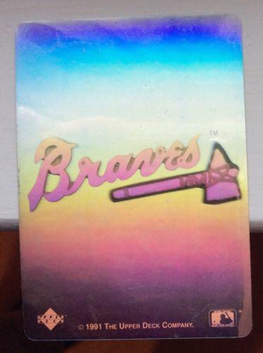 Vintage ATLANTA BRAVES (1) 1991 Upper Deck HOLOGRAM Sticker Heroes Of Baseball
