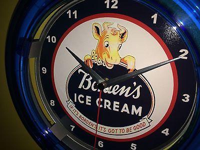 Borden Ice Cream Dairy Milk Cow Store Advertising Man Cave Neon Clock Sign