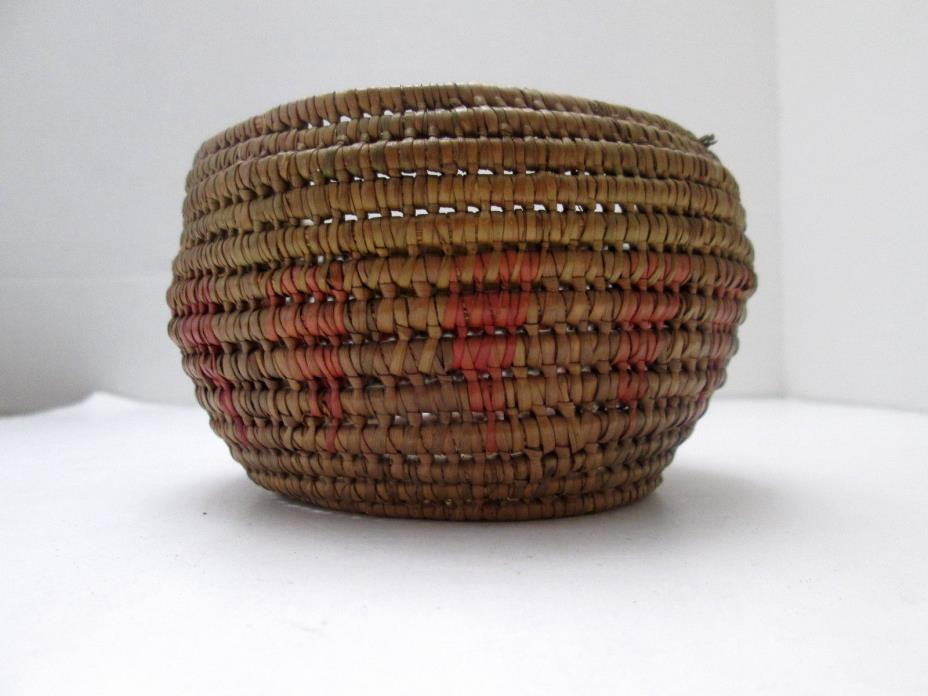 Vintage Native American Indian Woven Basket with Red Arrow Design