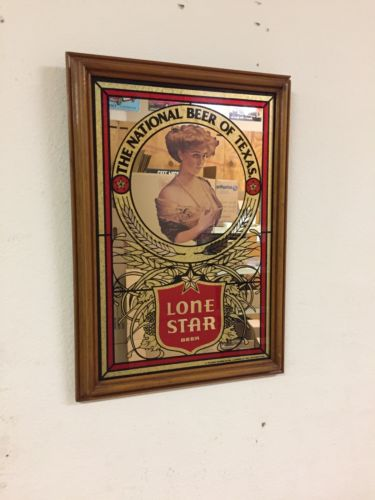 Lone Star Beer Mirror Sign Alamo Girl
