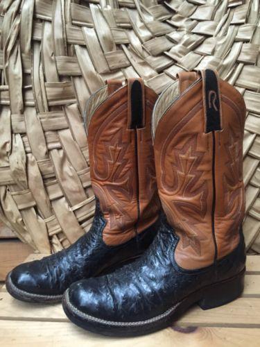 Used Rod Patrick Men's Sz 7B Two Tone Ostrich Cowboy Boots