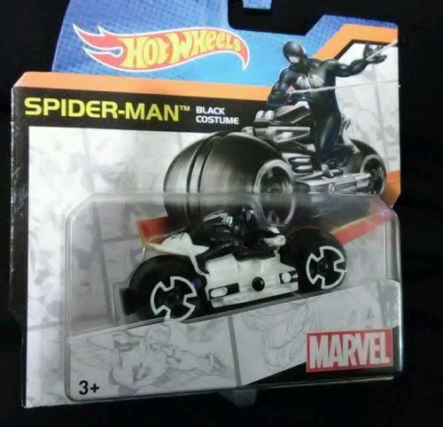 SPIDER-MAN   HOT WHEELS MOTORCYCLE  BLACK COSTUME / WHITE BIKE    NEW