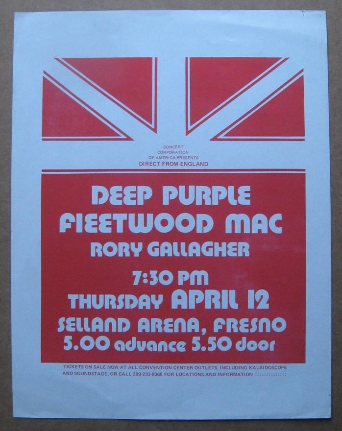 RORY GALLAGHER FLEETWOOD MAC DEEP PURPLE 1973 CONCERT FLYER PSYCH SELLAND ARENA