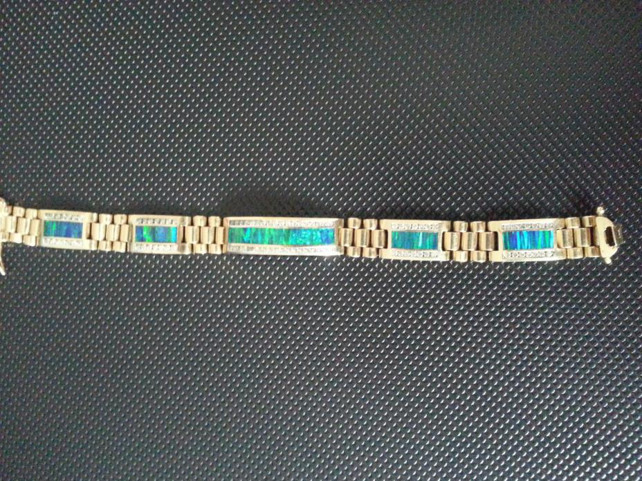 Men's Gold, Diamond, and Opal Tennis Bracelet