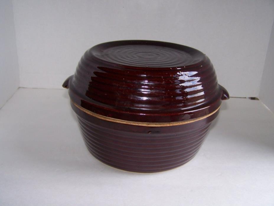 VTG USA Stoneware Ringware Pottery Covered Baking Dish Casserole Dutch Oven