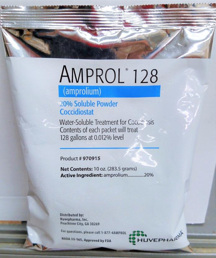 Amprol 128 (amprolium) 20% Soluble Powder 10 oz Cocci treats 128 gallons