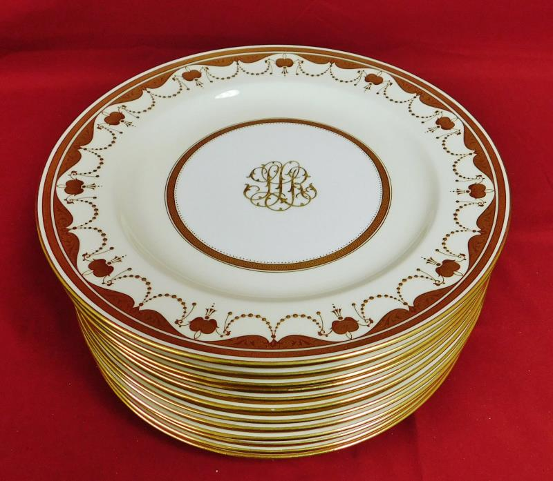 Antique Minton English Porcelain Raised Gold Dinner Plates Set - MINT