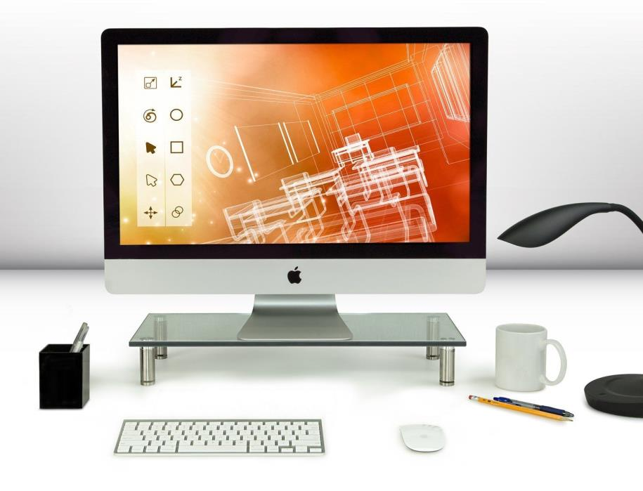 Mount-It! Computer Monitor Stand Desktop Riser, Clear Tempered Glass