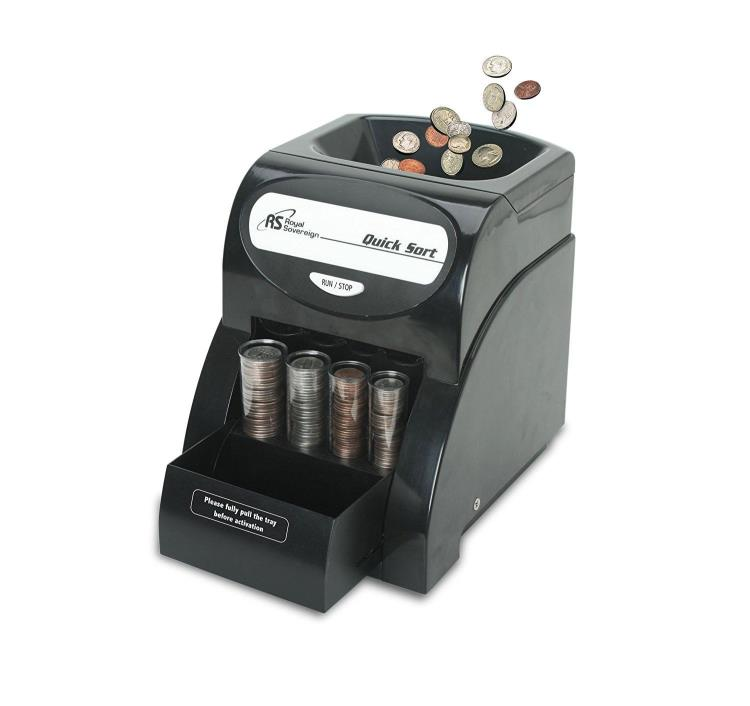 Royal Sovereign 1-Row Coin Sorter Money Counter Machine Removable Lid Hand Crank