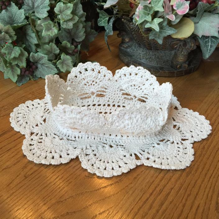 Beautiful Large Vintage Crocheted Ivory Basket Doily Shabby Chic Wedding
