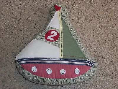 POTTERY BARN KIDS Distressed Embroidered SAIL BOAT NAUTICAL Decorative  PILLOW
