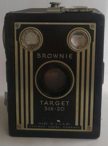 BROWNIE target six 20 antique kodak old box camera Made in U.S.A. art deco black