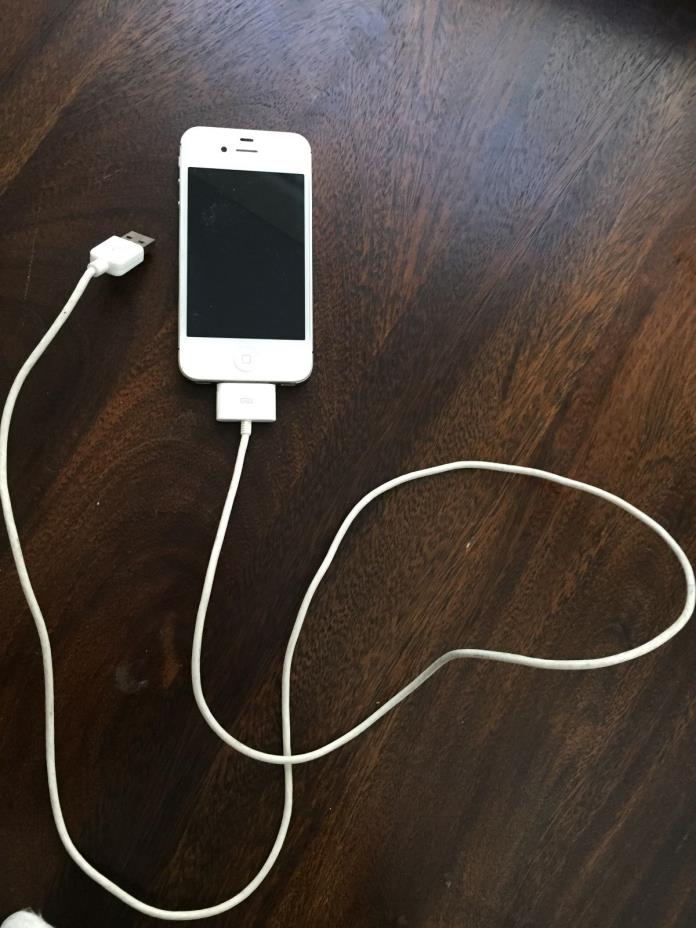 White iphone 4, charging cable included