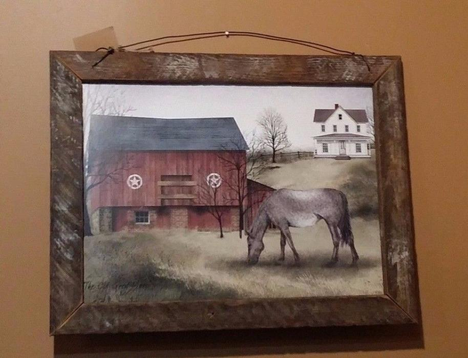 The Old Grey Mare by Billy Jacobs Lath Framed Print, Horse, Barn, Farmhouse
