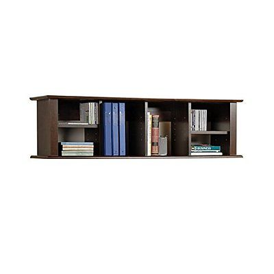 Espresso Wall Mounted Desk Hutch Desks Home Office Furniture Garden
