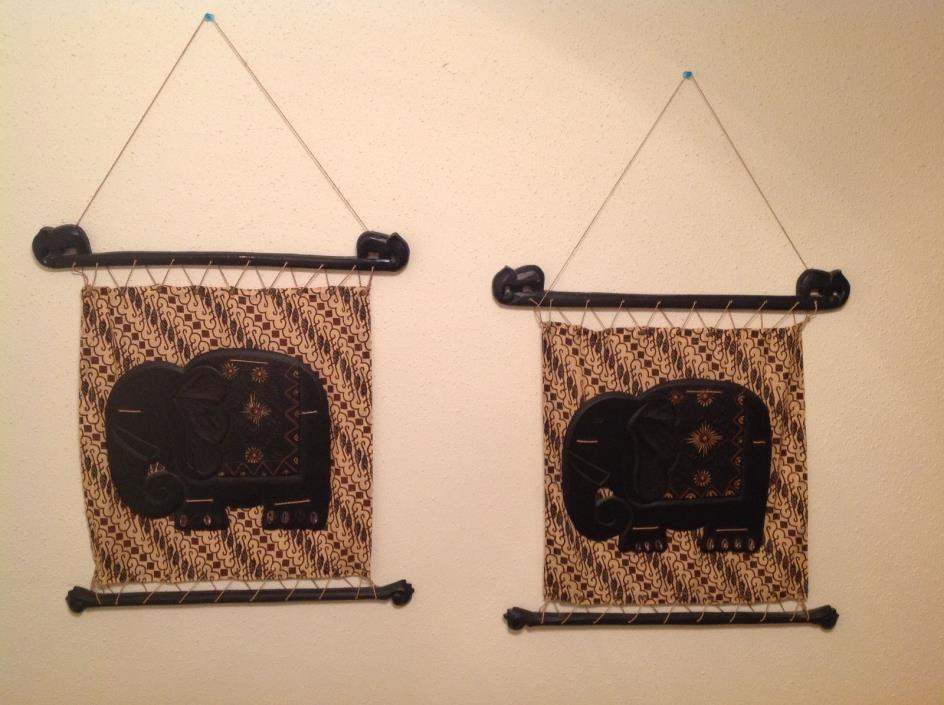 World Market Tapestries Wall Hanging Decoration Set Safari Elephant Style