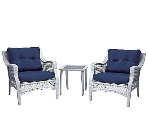 Plush 3 Pc White Wicker Outdoor Patio Chair & Glass Top Table Set, Blue Cushions
