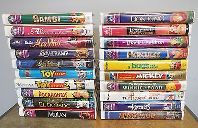 Lot of 20 Disney Classics - VHS Movies in Clamshell Cases
